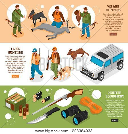 Hunting Information 3 Isometric Horizontal Banners Webpage Design With Gear Equipment Dogs Killed De