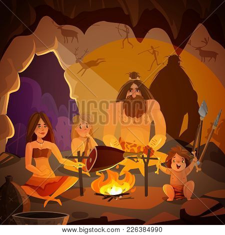 Cartoon Poster With Caveman Family Dressed In Animal Pelt Cooking Meat On Campfire In Cave Vector Il
