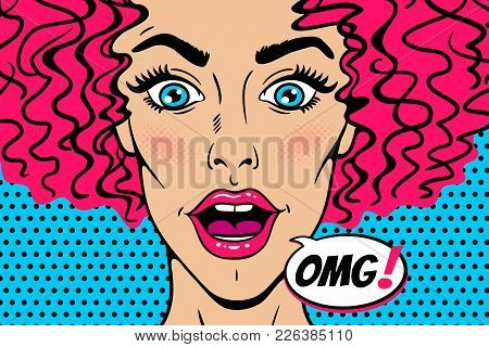 Wow Female Face. Sexy Surprised Young Woman Head With Wide Open Mouth, Eyes And Pink Curly Hair And