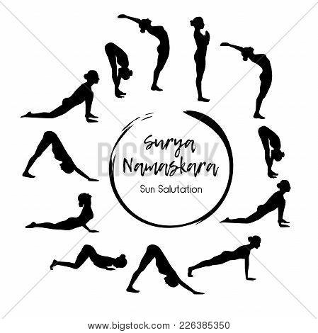Vector Illustration Of Yoga Exercise Sun Salutation - Surya Namaskara. Black Silhouettes Of Slim Wom