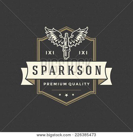 Spark Logo Template Vector Design Element Vintage Style For Label Or Badge Retro Illustration. Spark