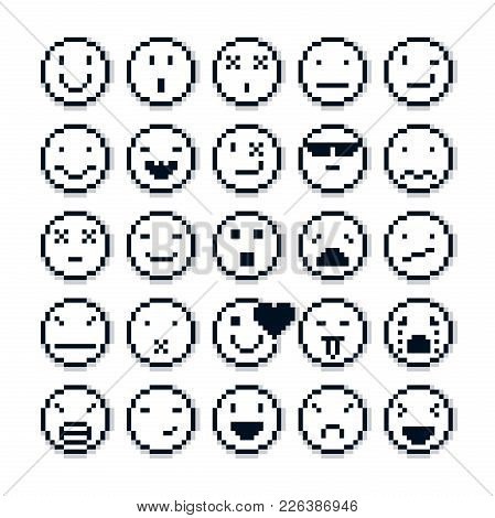Vector Pixel Icons Isolated, Collection Of 8bit Graphic Elements. Set Of Faces Created In Different