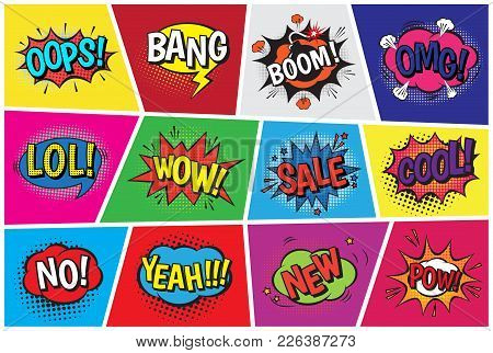 Pop Art Comic Vector Speech Cartoon Bubbles In Popart Style With Humor Text Boom Or Bang Bubbling Ex