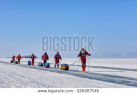 Lake Baikal, Irkutsk Region, Russia - March 08, 2017: Expedition On Ice Of Baikal To Test Arctic Equ