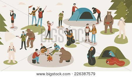 Set Of Tourists Or Backpackers Pitching Tent, Hiking, Sitting Around Bonfire, Singing Songs And Play