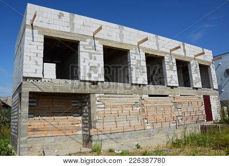 Unfinished House Construction With Autoclaved Aerated Concrete (aac), Also Known As Autoclaved Cellu