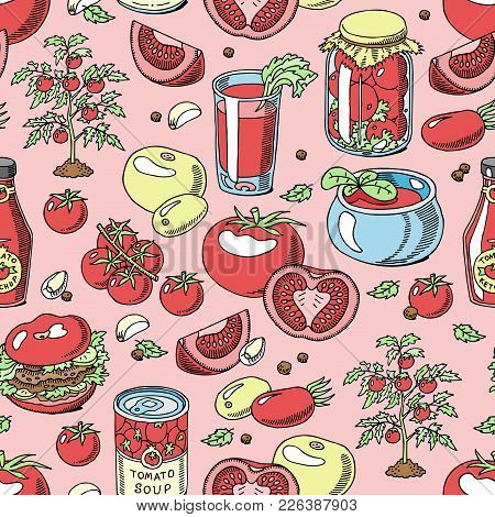 Tomato Seamless Pattern Vector Juicy Tomatoes Food Sauce Ketchup Soup And Paste With Fresh Red Veget
