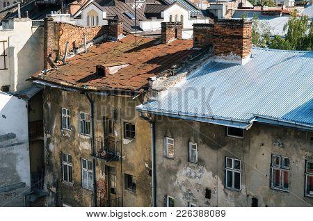 Old Ramshackled Roofs Of Houses Of Lviv, Ukraine.