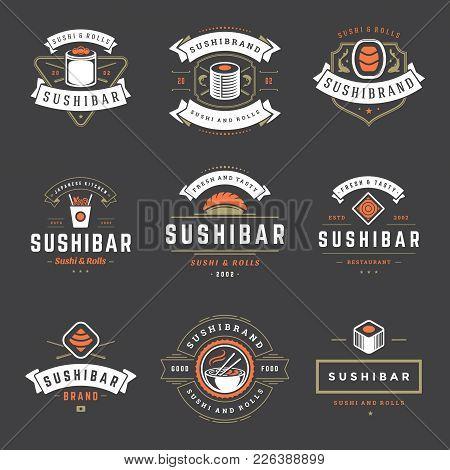 Sushi Restaurant Logos Set Vector Illustration. Japanese Food, Sushi And Rolls Silhouettes. Vintage