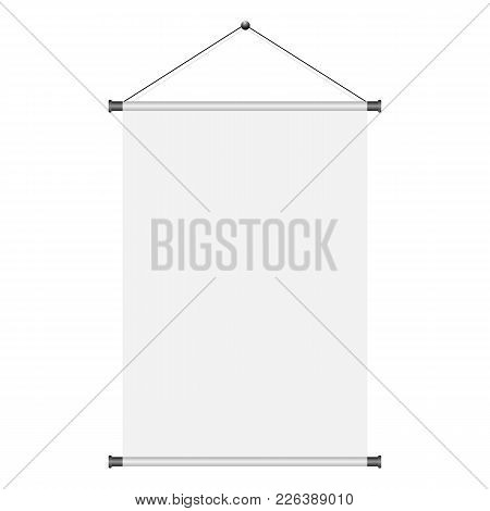 Blank White Paper Poster Hanging On Wall. Page Of Banner For Your Design. Vector Illustration