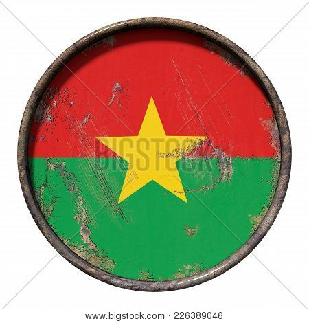 3d Rendering Of A Burkina Faso Flag Over A Rusty Metallic Plate. Isolated On White Background.