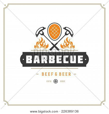 Grill Restaurant Logo Vector Illustration. Barbecue Steak House Menu Emblem, Meat Steak Silhouette.