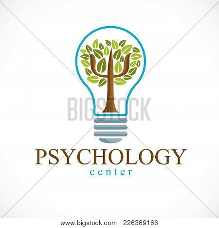 Psychology Concept Vector Logo Or Icon Created With Greek Psi Symbol As A Green Tree With Leaves Ins