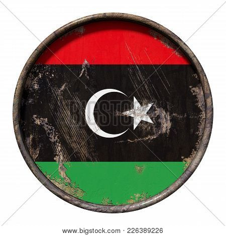 3d Rendering Of A Libya Flag Over A Rusty Metallic Plate. Isolated On White Background.