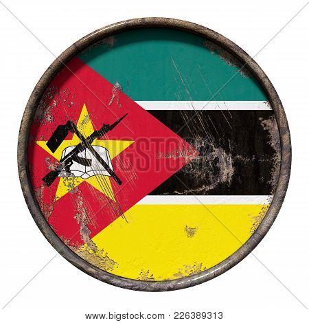 3d Rendering Of A Republic Of Mozambique Flag Over A Rusty Metallic Plate. Isolated On White Backgro