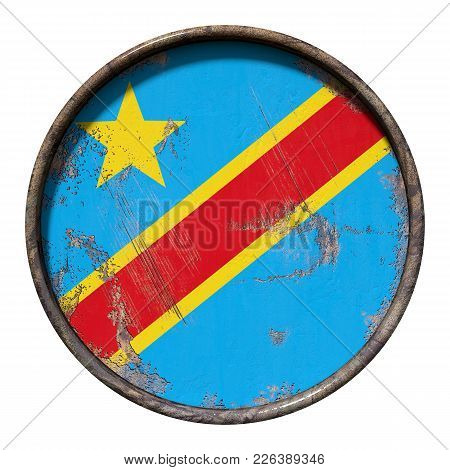 3d Rendering Of A Democratic Republic Of Congo Flag Over A Rusty Metallic Plate. Isolated On White B