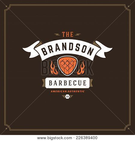 Grill Restaurant Logo Vector Illustration. Barbecue Steak House Menu Emblem, Meat Steak Silhouette.