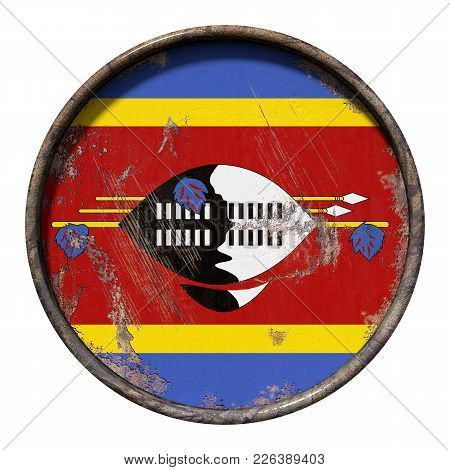 3d Rendering Of A Kingdom Of Swaziland Flag Over A Rusty Metallic Plate. Isolated On White Backgroun