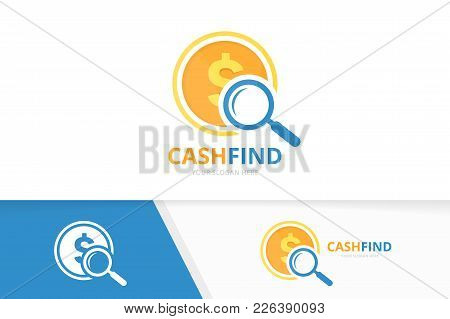 Vector Coin And Loupe Logo Combination. Money And Magnifying Symbol Or Icon. Unique Cash And Search