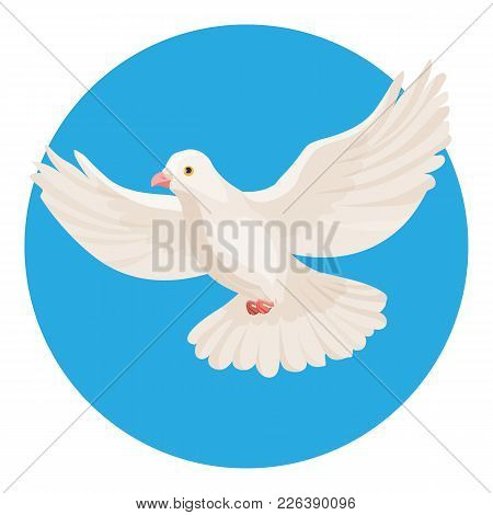 Dove Of White Color Symbol Of Peace Isolated In Blue Circle On White Background. Pigeon Flying In Bl