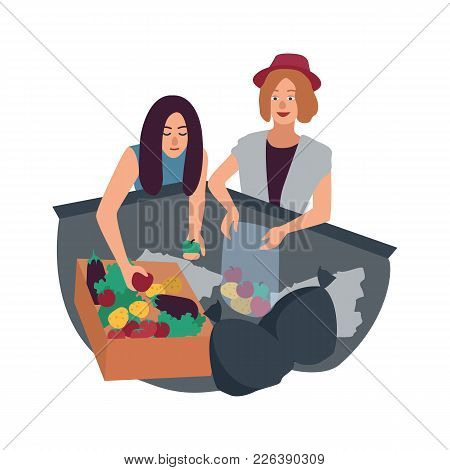 Young Man And Woman Delving In Waste Container And Picking Fruits. Pair Of Male And Female Freegans