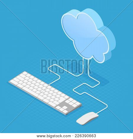 Cloud Computing Technology Isometric Concept With Cloud, Computer Keyboard And Mouse. Vector Illustr
