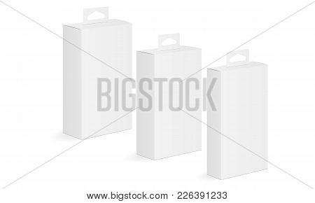 Set Of White Blank Boxes Mockups With Hanging Tab. Packaging For Mobile Phone Accessories. Vector Il