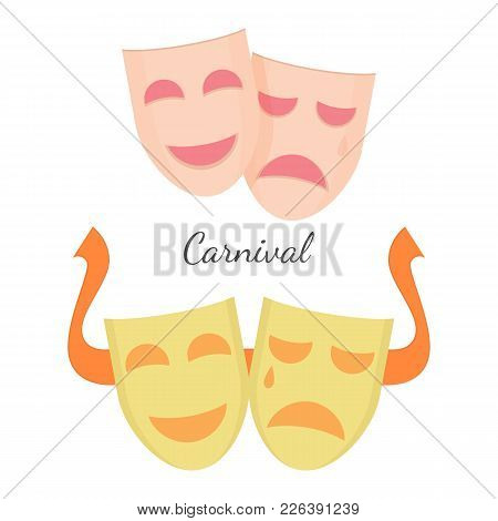 Carnival Drama Masks Symbols Of Theatre Play Isolated On White Background. Mystery Masque With Emoti