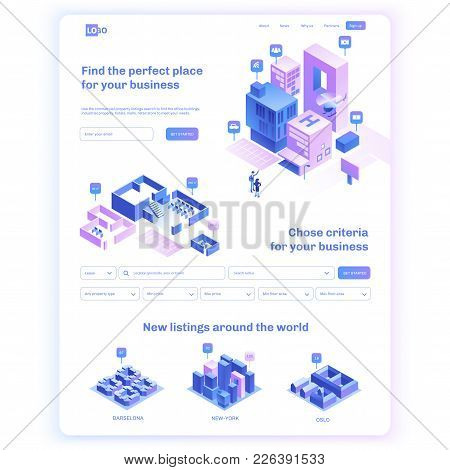 Find Commercial Real Estate For Your Business. Choose Criteria For Office. Isometric Vector Illustat