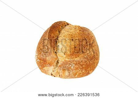 Appetizing Crunchy Crust Bread Isolated On White Background.