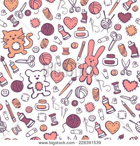 Vector Illustration Hand Made Toys. Seamless Pattern With Cute Hand Drawn Doodles With Hobby And Cra