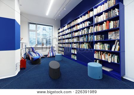 ST. PETERSBURG, RUSSIA - NOVEMBER 24, 2017: Interior of the municipal library Rzhevskaya in the day of it opening after renovation. The library was equipped with new technologies