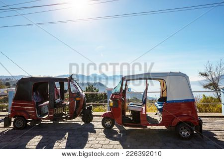 Tuk tuk vehicle in Atitlan lake, Guatemala, Central America