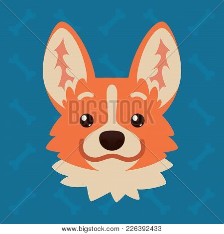 Corgi Dog Emotional Head. Vector Illustration Of Cute Dog In Flat Style Shows Positive Emotion. Smil