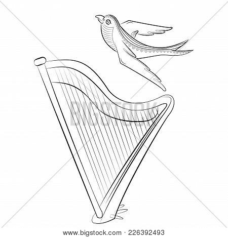 Black And White Coloring Book With The Harp And Swallow. Vector Illustration Of A Stringed Musical I