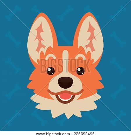 Corgi Dog Emotional Head. Vector Illustration Of Cute Dog In Flat Style Shows Surprised Emotion. Exc
