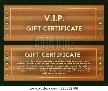 A Gift Certificate Is Richly Decorated With Precious Jade. Vector Voucher Green Glass Stones. Brown