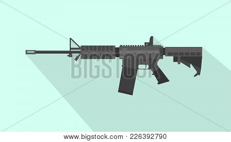 M4 Carbine Riffle Gun With Flat Style And Long Shadow Vector Graphic Illustration