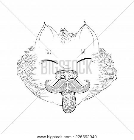 Zen Tangle Cat With Moustache. Doodle Pussycat Head Vector Illustration. Coloring Book For Adult.