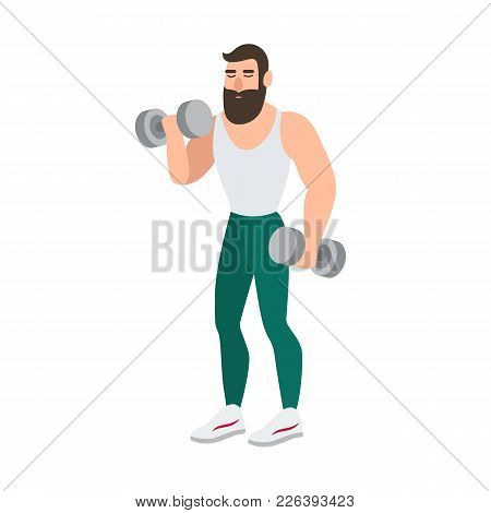 Bearded Man In Sports Clothing Doing Physical Exercise With Pair Of Dumbbells. Male Cartoon Characte