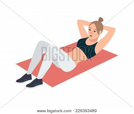 Woman In Fitness Clothes Lying On Pink Mat And Performing Abdominal Crunch Exercise. Female Cartoon