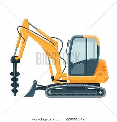 Modern Powerful Drilling Machine With Big Sharp Nozzle. Special Vehicle On Wheels To Dig Hole In Sol