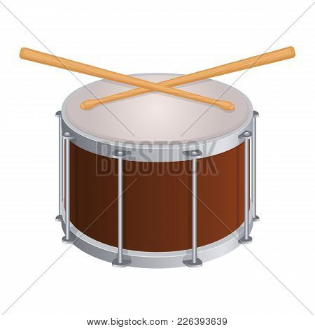 Small Round Drum And Wooden Sticks To Play. Percussion Musical Instrument And Equipment To Perform I