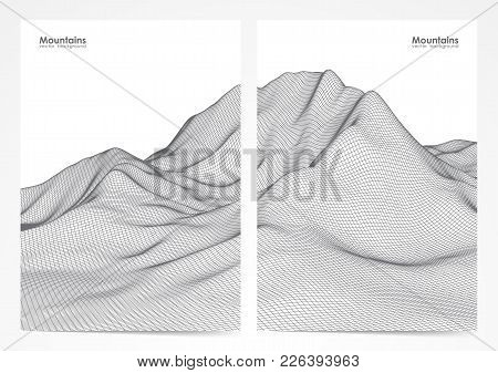 Vector Illustration: Set Of Two Poster Layout With Wireframe Mountains Landscape.