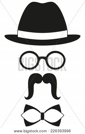 Icon Poster Man Father Dad Day Avatar Elements Set Hat Glasses Mustache Bow Tie Silhouette. Fashion