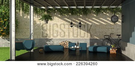 Garden With Iron Pergola,footstool And Hammock - 3d Rendering