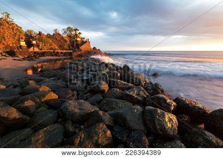 Pura Batu Bolong Temple, Lombok Island, Indonesia. Long Exposure Photography.