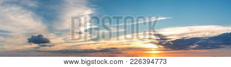 Vibrant Color Panoramic Sun Rise And Sun Set Sky With Cloud On A Cloudy Day. Beautiful Cirrus Cloud.