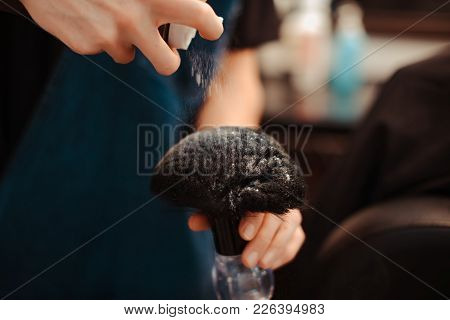 Barber Speaks Hoarsely Talcum Powder On The Brush.
