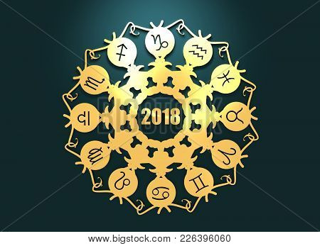 Astrological Symbols In The Circle. Decorative Ornanet. 3d Rendering. 2018 Year Number